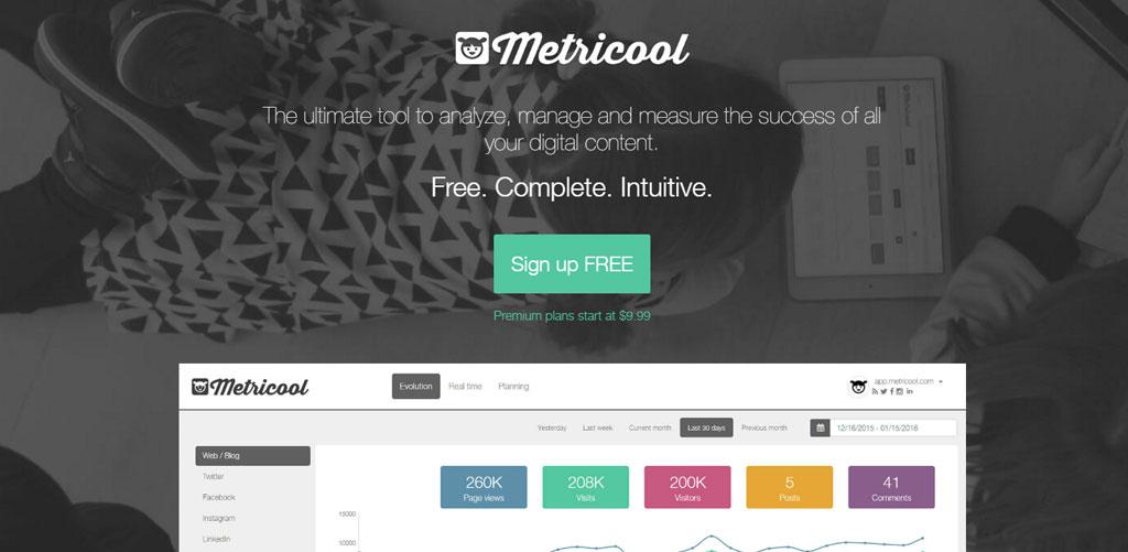 Metricool - Exemplu de website creat cu aceeasi tehnologie ca si 99web.ro